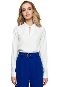 Ecru Elegant Blouse with Stand-up Collar
