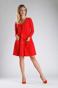 Red Dress with a Loose Fashion. Fastened with buttons