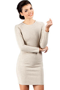 Beige Seam Shift Dress with Raglan Sleeves