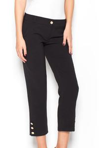 Black 7/8 Simple Pencil Pants with Glod Buttons