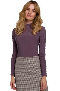Purple Tourtleneck Drapped Sleeves Body