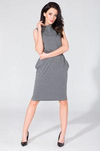 Grey Sleeveless Side Pockets Casual Dress