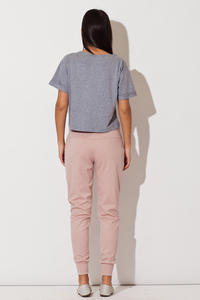 Pink Casual Pants with Golden Zip