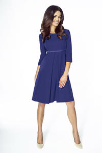 Dark Blue Flared 3/4 Sleeves Coctail Dress