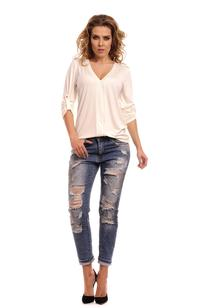 Ecru Knitted Roled-up Sleeves Blouse