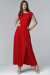 Red Stylish Maxi Long Dress with Long Slit and Cut Out Back