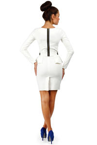 Ecru Seam Shift Dress with Decorative Zipper Pockets
