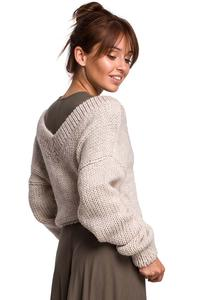 Classic Sweater with V-neck on the front and back - Beige