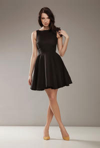 Bateau Neck Sleeveless Skater Black Dress