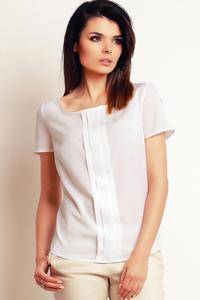 Ecru Simple Round Neck Short Sleeves Blouse