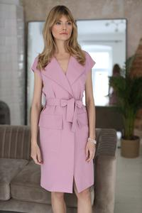 Pink Belted Knee Length Dress