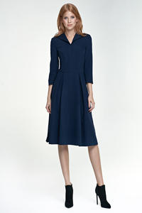 Dark Blue Light Pleats Dress with Collar