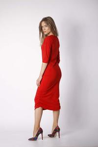 Brick Fitted Midi Dress Pleated at the Sides