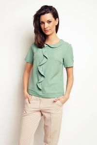 Light Green Short Sleeves Top with a Frill