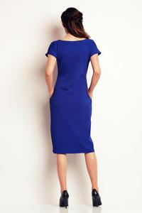 Blue Classic Belted Midi Dress