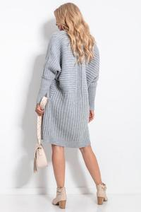 Long Ribbed Cardigan without Clasp - Gray