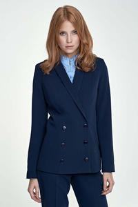 Dark Blue Doublebreasted Classic Ladies Blazer