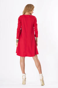 Red Plain Long Sleeves Dress