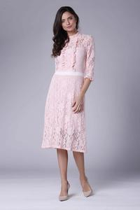 Pink Slim Waist Lace Dress