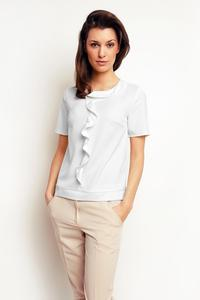 Ecru Short Sleeves Top with a Frill