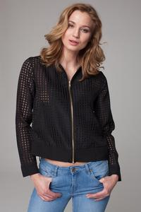 Black Netz Fabric Thin&Short Stand-up Collar Jacket