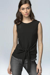Black Elegant Blouse with Bow Tie Waist