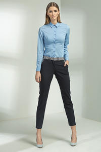 Slim Fit Petite Collared Seam Blue Shirt