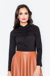Petite Collared Vintage Bow Neck Black Shirt