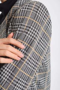 Camel Elegant Asymmetrical Checked Jacket