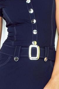 Dark Blue Buttons Closure Belted Dress