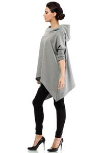 Grey Oversized Asymetrical Hooded Blouse