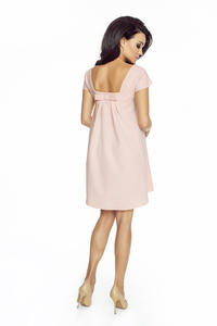 Pink Flared Dress with Bow at The Back
