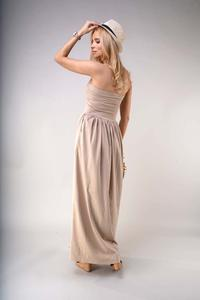 Maxi Dress with Open Shoulders - Beige