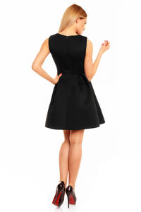 Black Sleeveless Round Neckline Light Pleats Mini Dress
