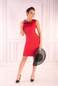 Red Fitted Sleeveless Dress With Chiffon