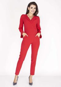 Red Elegant Jumpsuit with Collar
