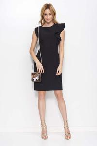 Black Simple Pencil Dress with a Frill