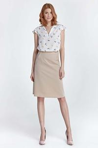 Beige Knee Length Skirt with Pockets