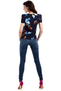 Dark Blue Butterfly Pattern Short Sleeves Blouse