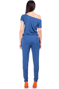 Blue Oceanic Off-shoulder and Long Legged Jumpsuit