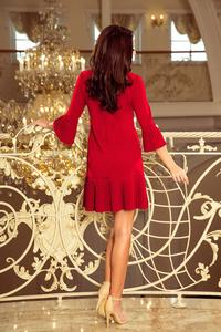 Red Formal Dress with Pleated Frills