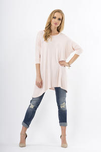 Powder Pink Oversized Bat Sleeves Blouse
