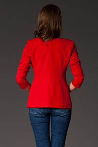 Puffed Shoulder Collarless Seam Red Blazer
