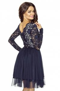 Navy Blue Evening Dress with Lace Top and Tulle Skirt