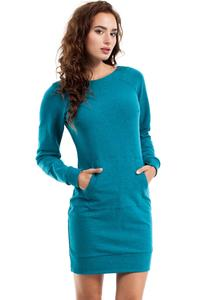 Smaragd Blue Sport Style Dress with Kangoo Pocket