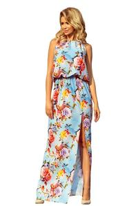 Light Blue Maxi Dress Tied at the Neck in Flowers