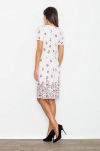 White Floral Pattern Coctail Pencil  Dress