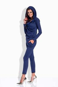 Dark Blue Slim Legs Hooded Jumpsuit