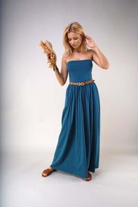 Maxi Dress with Open Shoulders - Green