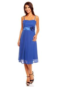 Blue Spaghetti Straps Coctail Dress with A Flower
